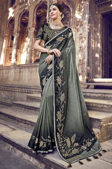 Beads Work And Lace Work Designer Grey And Black Banarasi Silk Fabric Saree And Blouse