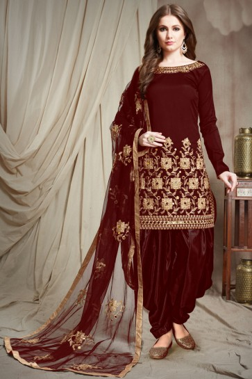 Marvelous Maroon Embroidered Faux Georgette Salwar Kameez With Chiffon Dupatta