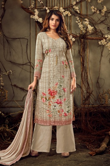 Viscose And Georgette Coffee Digital Print Plazzo Suit With Chiffon Dupatta