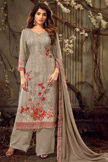 Grey Digital Print Viscose And Georgette Embroidered Plazzo Suit With Chiffon Dupatta