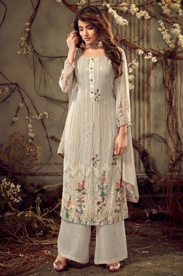 Digital Print Viscose And Georgette Silver Plazzo Suit With Chiffon Dupatta