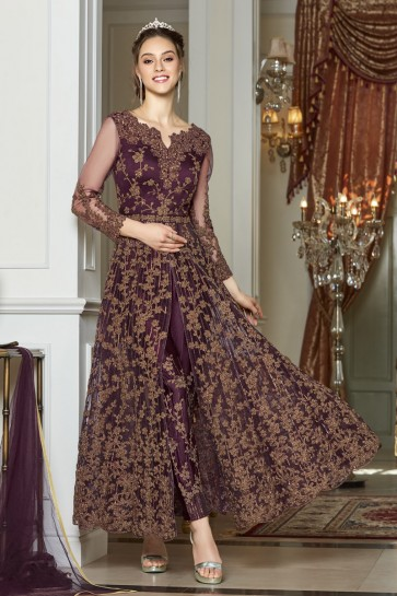 Violet Net Embroidery And Lace Work Abaya Style Anarkali Suit With Net Dupatta