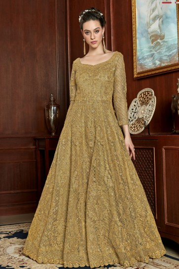 Embroidery And Lace Work Golden Net Fabric Anarkali Suit With Net Dupatta
