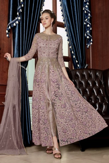 Baby Pink Net Embroidery And Lace Work Anarkali Suit With Net Dupatta
