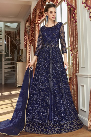 Designer Navy Blue Net Embroidery And Lace Work Chanderi Anarkali Suit With Net Dupatta