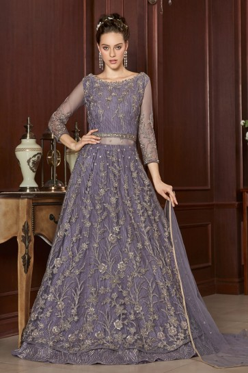Chanderi Designer Net Purple Embroidery And Lace Work Anarkali Suit With Net Dupatta