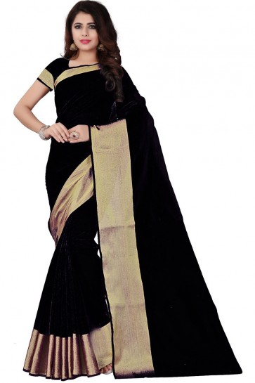 Gorgeous Black Party Wear Cotton Saree