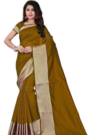 Beautiful Golden Cotton Party Wear Saree