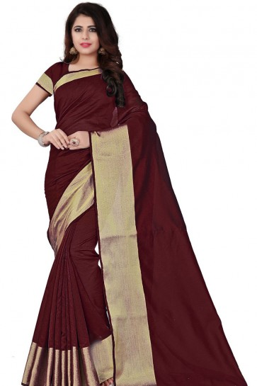 Maroon Cotton Party Wear Saree With Plain Blouse