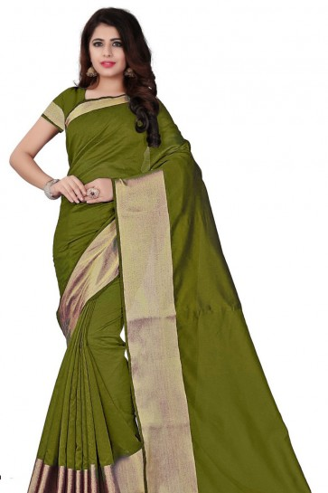 Stylish Mahendi Green Cotton Saree With Plain Blouse