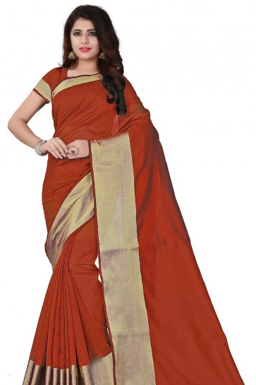Orange Cotton Plain Saree With Plain Blouse