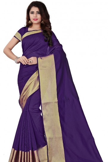Admirable Purple Cotton Party Wear Saree With Plain Blouse
