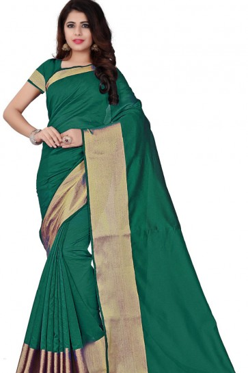 Supreme Green Cotton Plain Saree With Plain Blouse