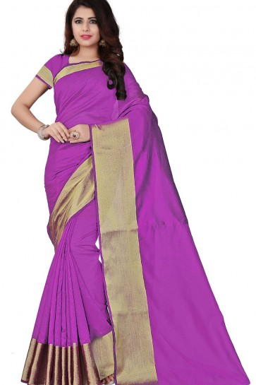 Pink Cotton Party Wear Saree With Plain Blouse