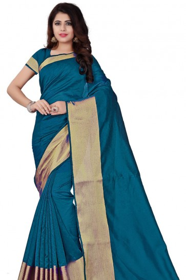 Sky Blue Cotton Plain Saree With Plain Blouse
