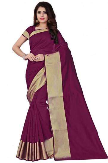Charming Violet Cotton Party Wear Saree With Plain Blouse