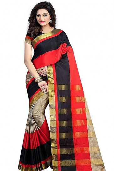 Beige and Orange Cotton Party Wear Saree With Plain Blouse