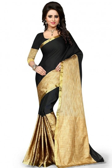 Charming Beige and Black Cotton Saree With Plain Blouse