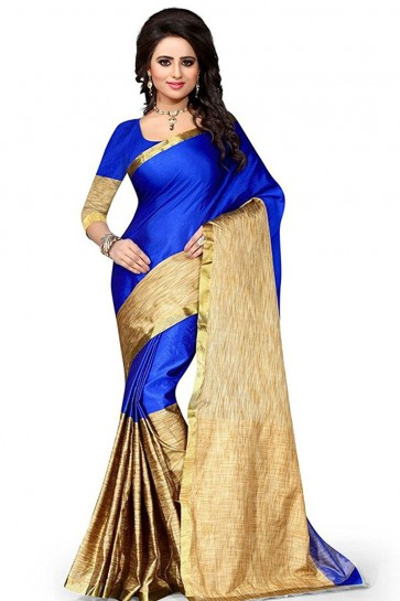 Beige and Blue Cotton Plain Saree With Plain Blouse