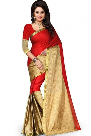 Stylish Beige and Red Party Wear Cotton Saree