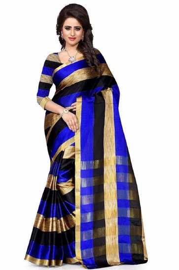 Supreme Blue Cotton Plain Saree With Plain Blouse