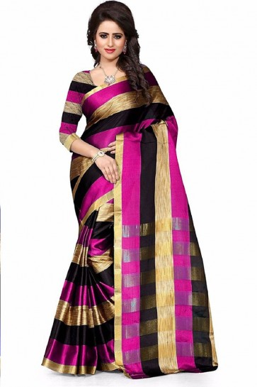 Gorgeous Pink Cotton Plain Saree