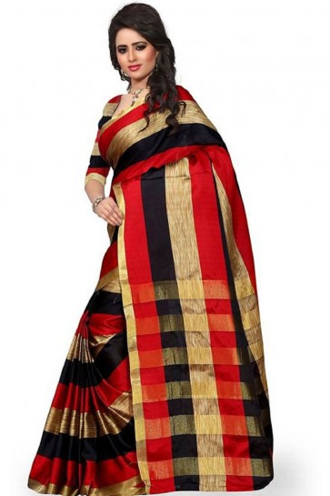 Graceful Red Cotton Saree With Plain Blouse