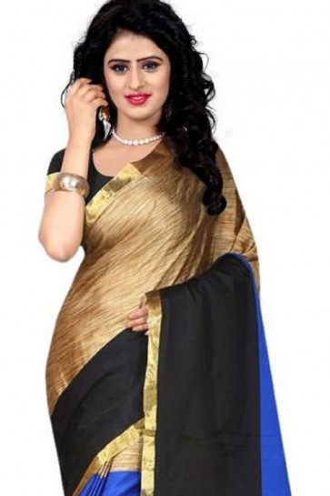 Beautiful Blue Cotton Party Wear Saree