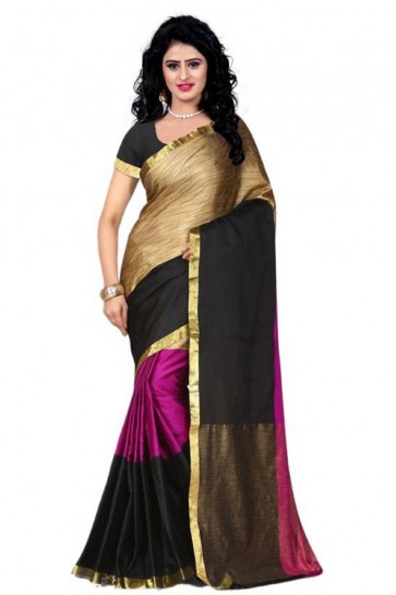Pink Cotton Plain Party Wear Saree With Plain Blouse