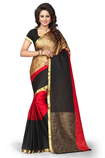 Stylish Red Cotton Party Wear Saree With Plain Blouse