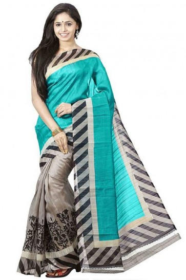 Sky Blue Bhagalpuri Party Wear Printed Saree With Printed Blouse