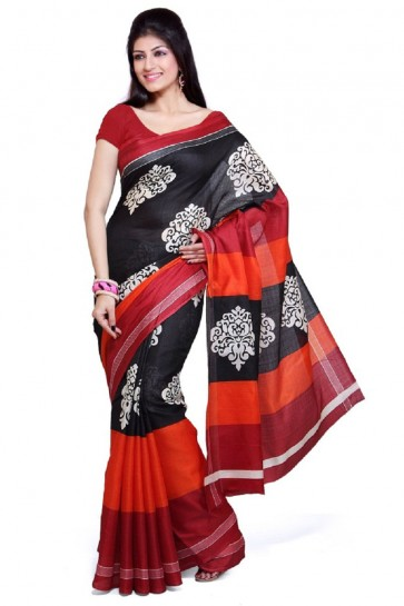 Beautiful Orange and Black Bhagalpuri Party Wear Saree With Printed Blouse