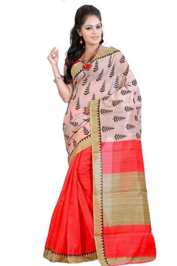 Orange and Pink Bhagalpuri Party Wear Saree With Printed Blouse