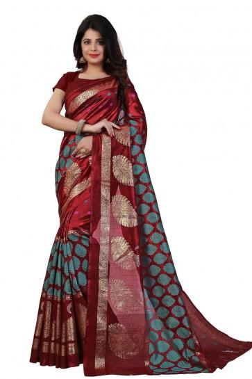 Pretty Maroon Bhagalpuri Printed Saree With Printed Blouse