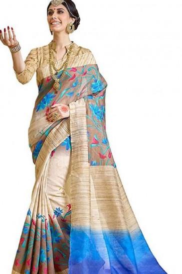 Gorgeous Cream Bhagalpuri Party Wear Printed Saree