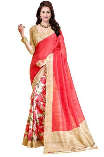 Charming Pink Bhagalpuri Party Wear Printed Saree With Printed Blouse