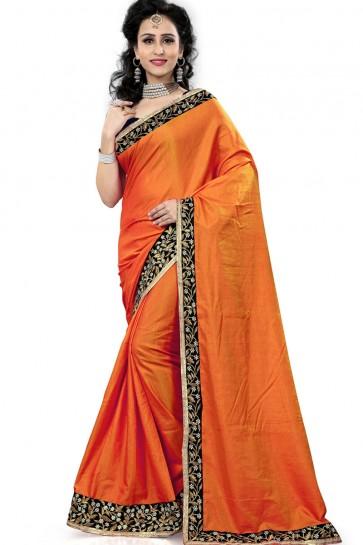 Stylish Orange Silk Saree With Lace Work Blouse