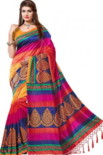 Supreme Multi Color Bhagalpuri Party Wear Printed Saree