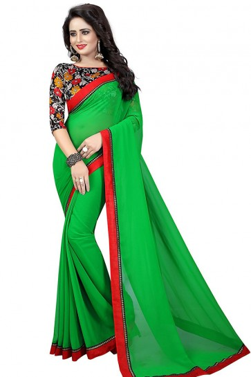 Supreme Green Georgette Lace Work Saree With Printed Blouse
