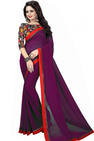 Ultimate Purple Georgette Lace Work Saree