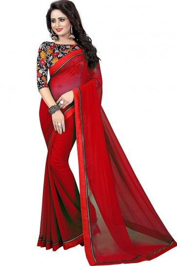 Excellent Red Georgette Lace Work Saree
