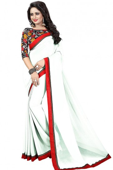 White Georgette Party Wear Lace Work Saree