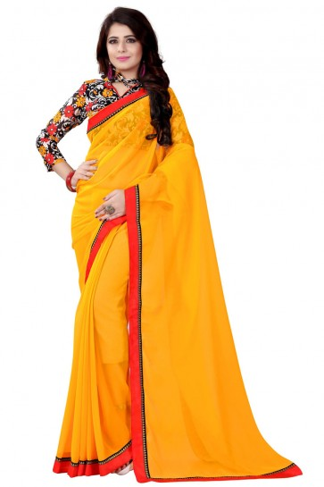 Yellow Georgette Lace Work Saree With Printed Blouse