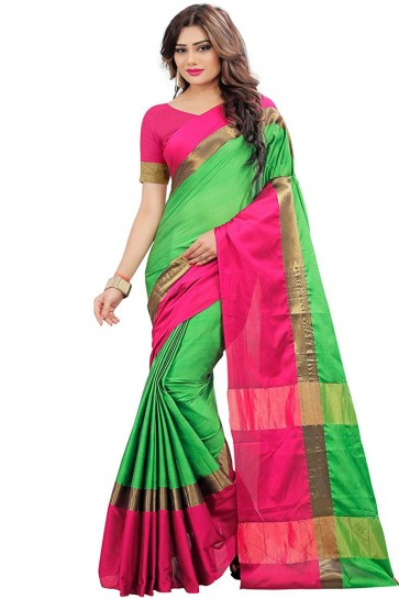Gorgeous Green and Pink Cotton Saree With Plain Blouse