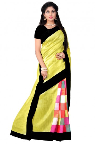 Gorgeous Yellow Bhagalpuri Printed Saree With Plain Blouse