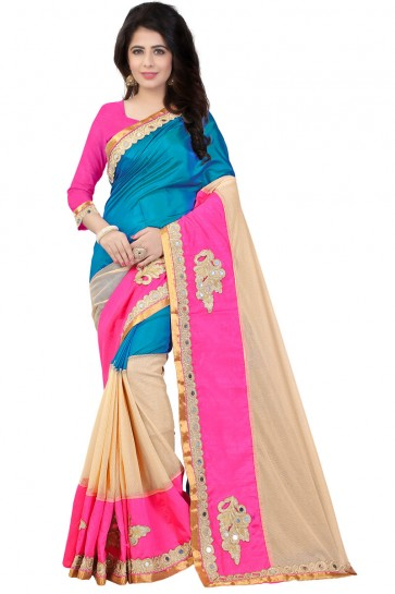 Pink and Cream Cotton Patch Work Saree