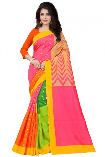 Pink and Orange Cotton Printed Saree