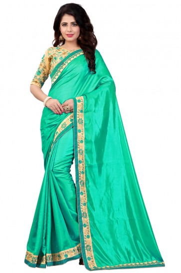Turquoise Cotton Lace Work Saree With Plain Blouse