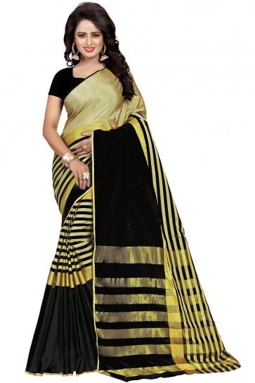 Excellent Black Cotton Party Wear Saree