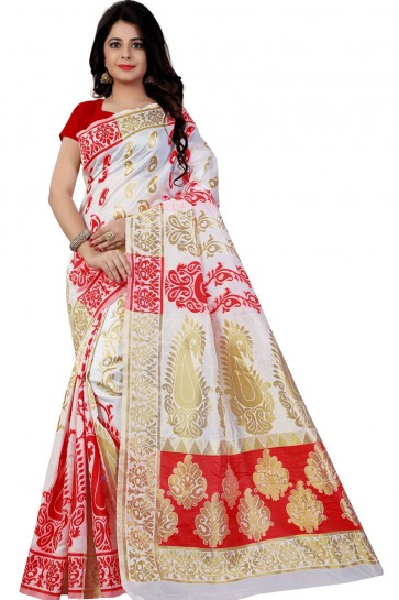 White and Red Cotton Party Wear Printed Saree